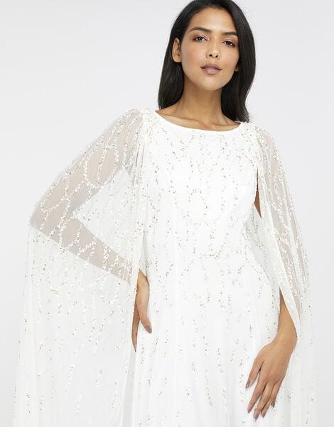 Naomi Embellished Cape Bridal Gown Ivory, Ivory (IVORY), large
