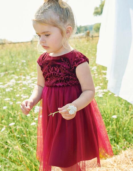 Baby Floral Velvet Dress Red, Red (BURGUNDY), large