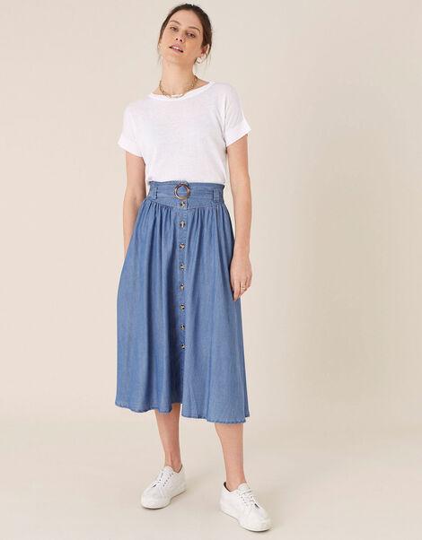 Belted Midi Skirt in LENZING™ TENCEL™ Blue, Blue (DENIM BLUE), large