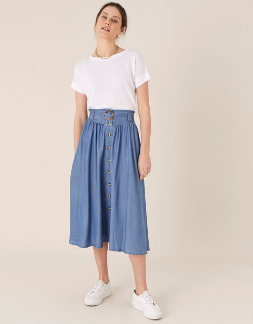 Belted Midi Skirt in LENZING™ TENCEL™, Blue (DENIM BLUE), large