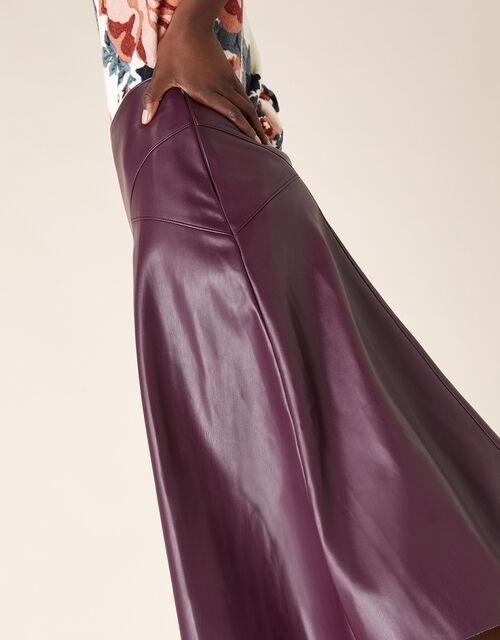 Leather-Look Midi Skirt, Purple (PURPLE), large