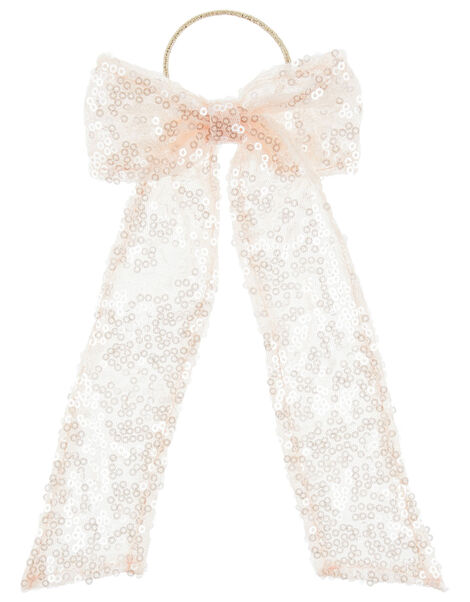 Sequin Bow Ponytail Hairband, , large