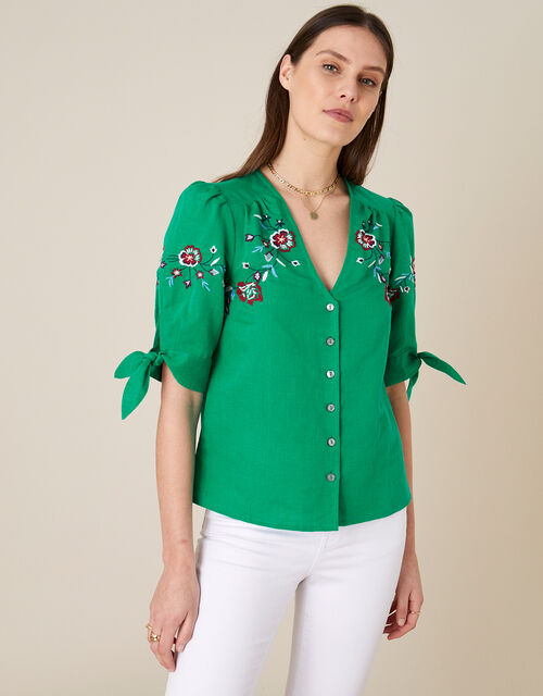 Floral Embroidered Top in Linen Blend, Green (GREEN), large