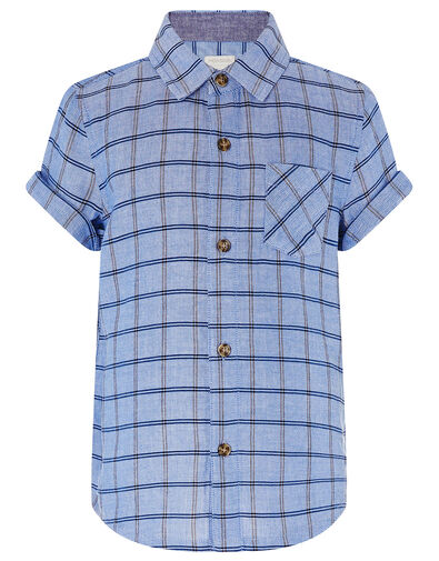 Check Short Sleeve Shirt in Pure Cotton Blue, Blue (BLUE), large