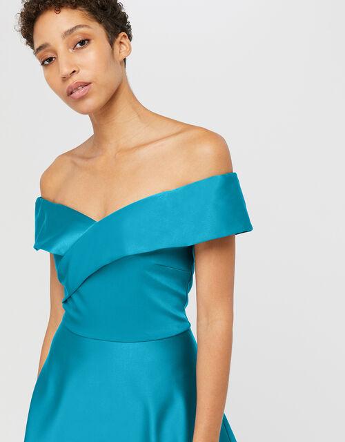 Sigourney Satin Midi Dress, Teal, large