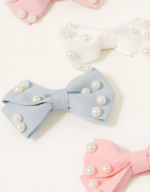 Pearly Bow Hair Clip Set, , large