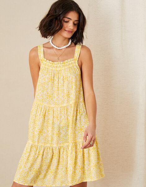 Zuri Printed Dress in LENZING™ ECOVERO™ Yellow, Yellow (YELLOW), large