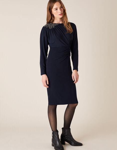 Danielle Beaded Shoulder Jersey Dress Blue, Blue (NAVY), large