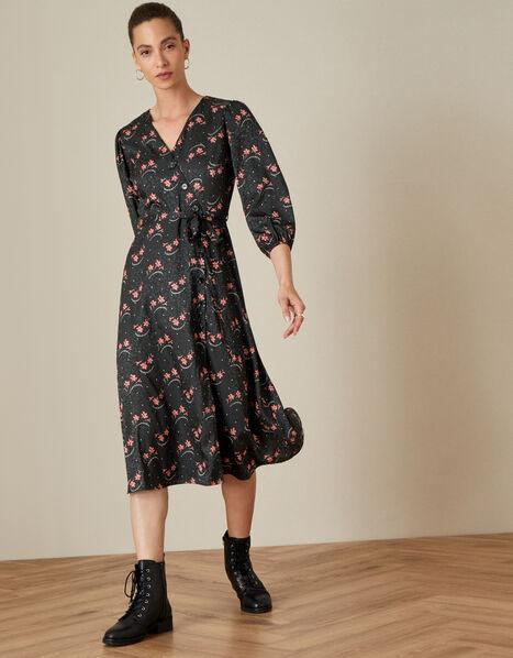 Floral Print Wrap Dress Black, Black (BLACK), large