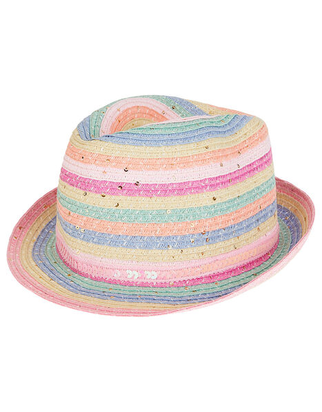 Rainbow Sequin Trilby Hat Multi, Multi (MULTI), large