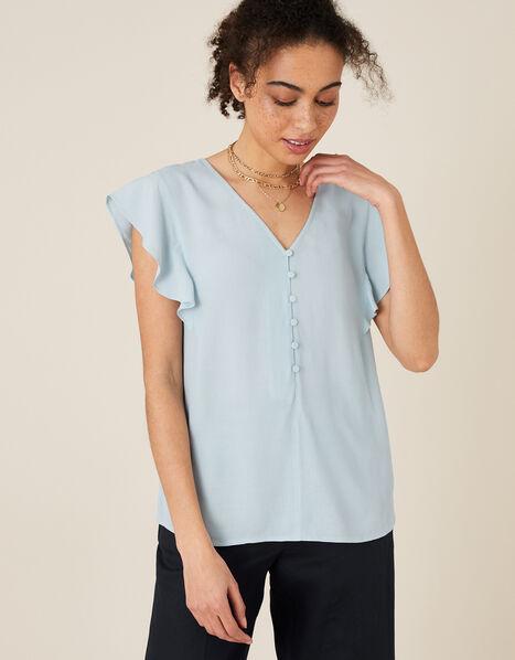 Ruffle Short Sleeve Blouse Blue, Blue (BLUE), large