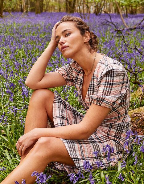Check Print Textured Midi Dress Natural, Natural (STONE), large