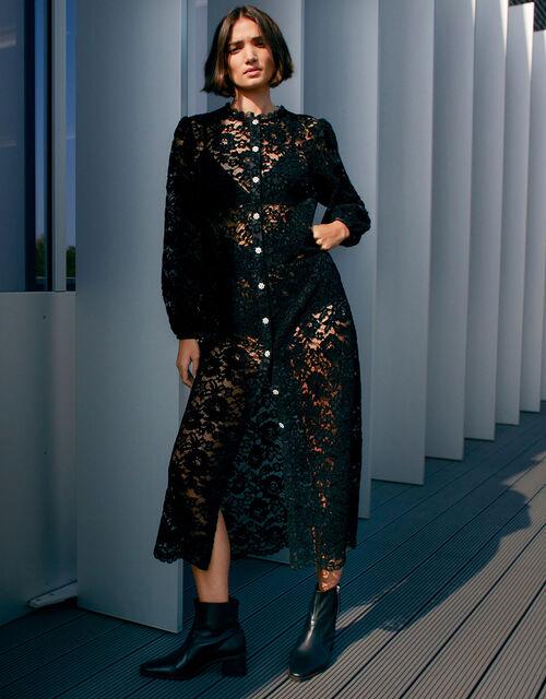 Francesca Floral Lace Shirt Dress, Black (BLACK), large