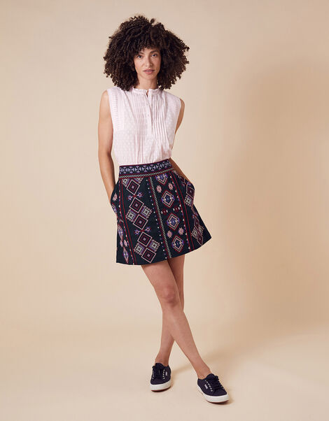 Embroidered Mini Skirt in Organic Cotton  Blue, Blue (NAVY), large