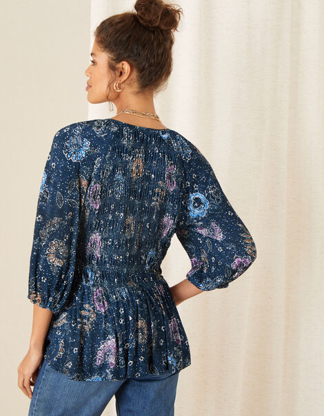 Floral Print Shirred Jersey Top Blue, Blue (NAVY), large