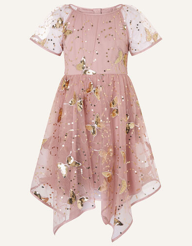 Sequin Butterfly Hanky Hem Dress  Pink, Pink (PINK), large