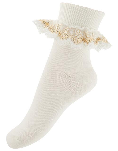 Chloe Metallic Lace Ankle Socks, Ivory (IVORY), large