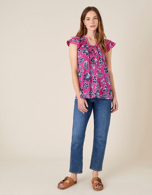 Rosanna Printed Ruffle Jersey Top, Pink (PINK), large