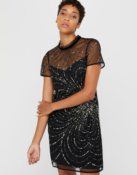 Chloee Embellished Short Dress Black, Black (BLACK), large
