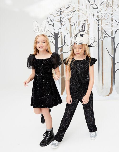 Puff Sleeve Sparkle Velvet Dress, , large
