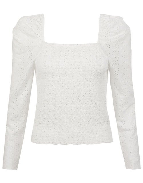 Skylee Shirred Broderie Blouse, Ivory (IVORY), large