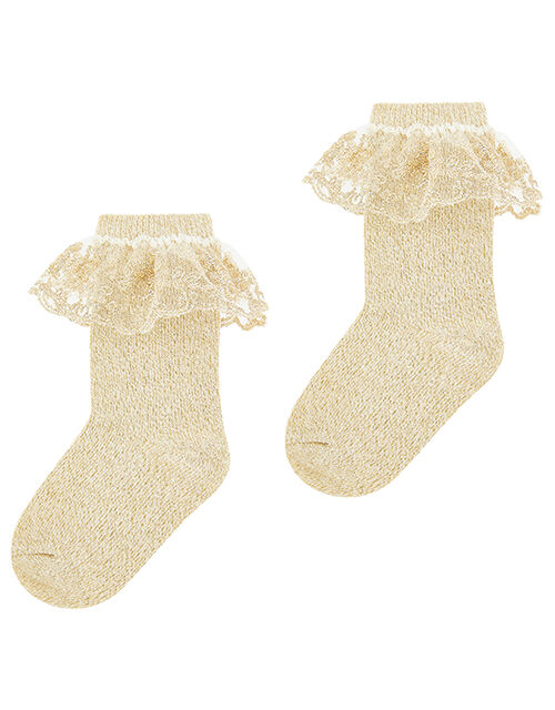Girl Scallop Lace Ankle Socks, Gold (GOLD), large