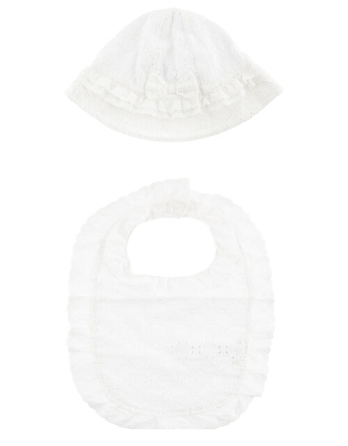 Broderie Hat and Bib Set, White (WHITE), large
