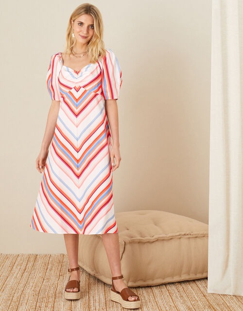 Stripe Sweetheart Neck Poplin Dress, Orange (ORANGE), large
