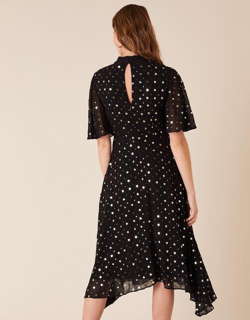 Demetria Sequin Hearts Hanky Hem Dress, Black (BLACK), large