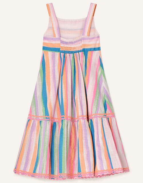 Painterly Stripe Midi Dress , Multi (MULTI), large