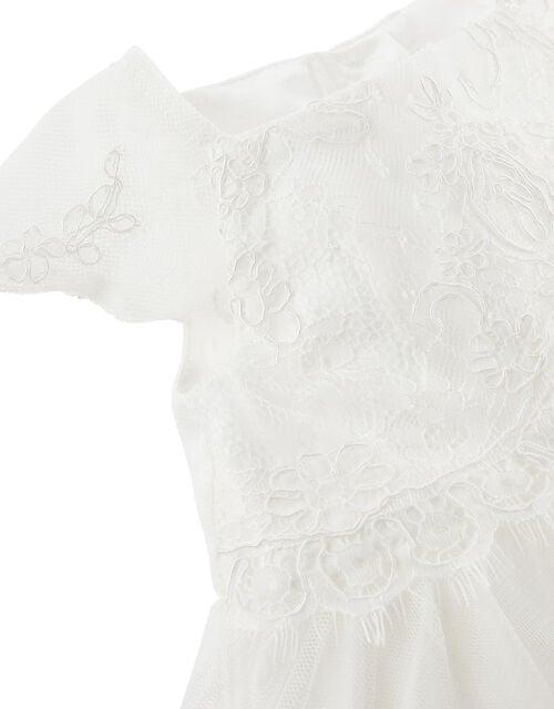 Newborn Baby Lace Dress, Ivory (IVORY), large