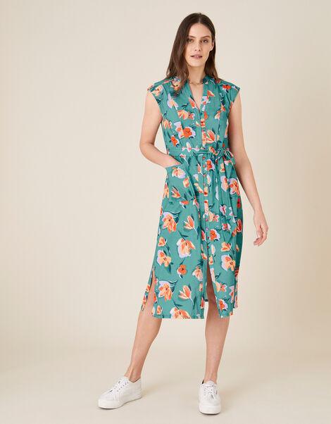 Floral Print Jersey Shirt Dress Blue, Blue (BLUE), large