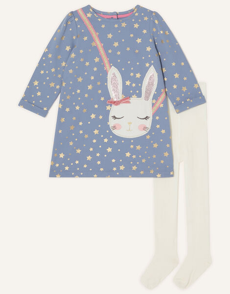 Baby Bunny Sweat Dress and Tights Set Blue, Blue (BLUE), large