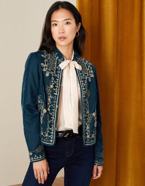 Embroidered Velvet Jacket Teal, Teal (TEAL), large