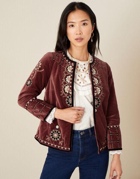 Embroidered Velvet Jacket Brown, Brown (BROWN), large