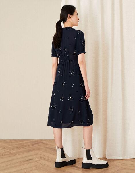 Embroidered Crinkle Midi Dress Blue, Blue (NAVY), large
