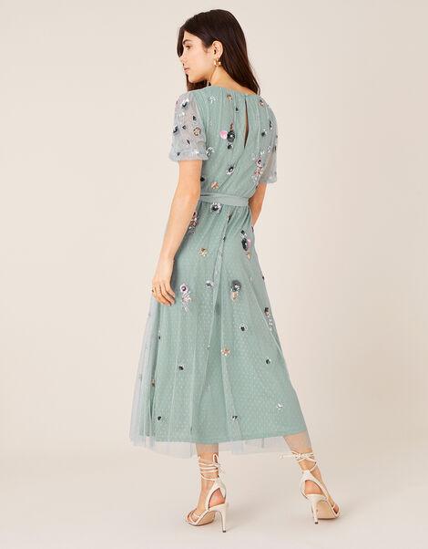 Rosalie Floral Embellished Midi Dress Grey, Grey (GREY), large