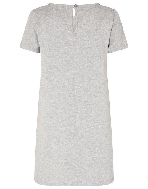 Sequin Stripe Sweat Dress, Grey (GREY), large