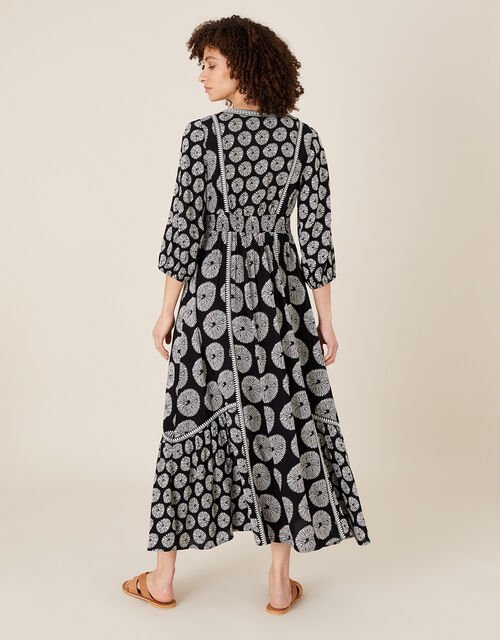 ARTISAN STUDIO Circle Print Midi Dress, Black (BLACK), large