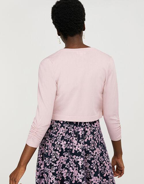 Riya Cropped Cardigan with Ruched Sleeves, Pink (BLUSH), large