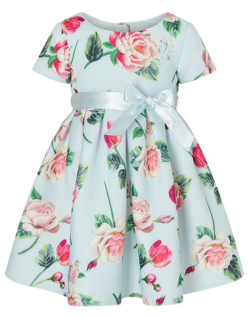 Baby Floral Scuba Dress, Blue (PALE BLUE), large