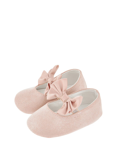 Baby Lottie Satin Bow Bootie Shoes Pink, Pink (PINK), large