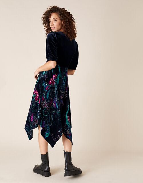 Persephone Peacock Print Hanky Hem Dress, Black (BLACK), large
