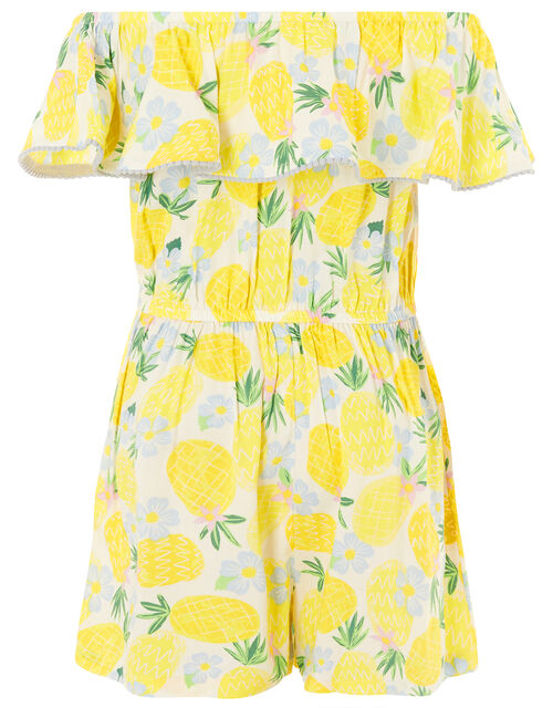 Pineapple Culotte Playsuit in LENZING™ ECOVERO™, Yellow (YELLOW), large