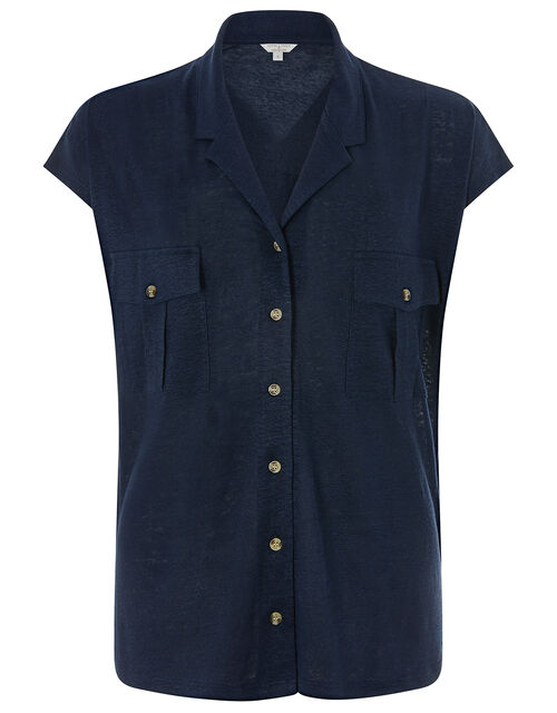 Leena Short-Sleeve Shirt in Pure Linen, Blue (NAVY), large