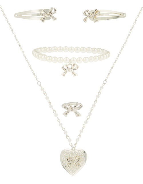 Diamante Bow and Pearl Jewellery Set, , large