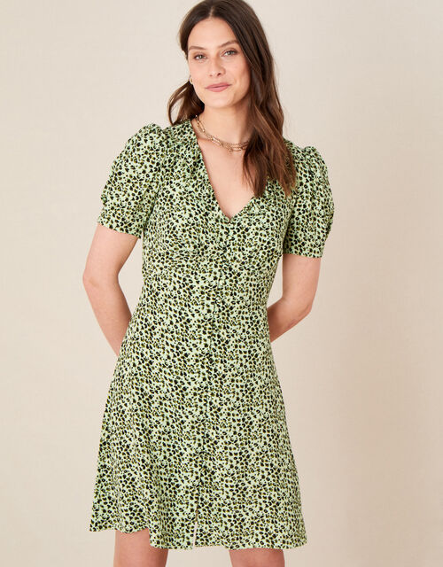 Frill Collar Animal Print Dress, Green (GREEN), large