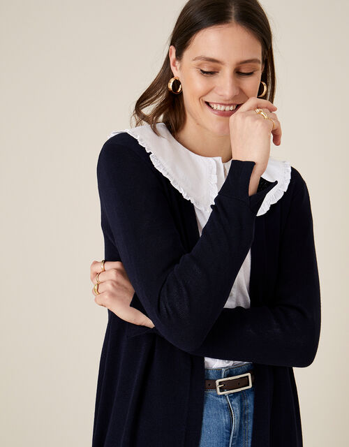 Lily Longline Cardigan in Linen Blend , Blue (NAVY), large