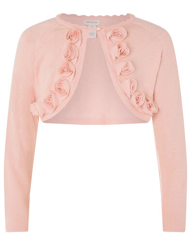 3D Flower Trim Crop Cardigan Pink, Pink (PINK), large