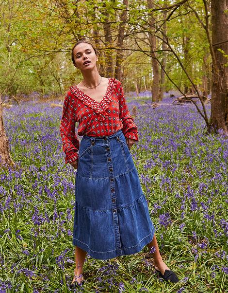 Tiered Denim Midi Skirt Blue, Blue (DENIM BLUE), large